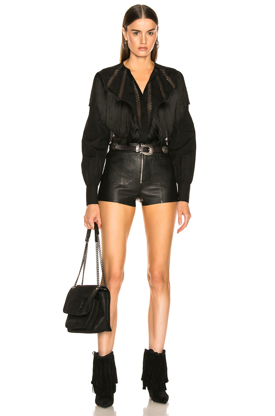 Image 4 of SPRWMN Exposed Zip Hot Pants in Black
