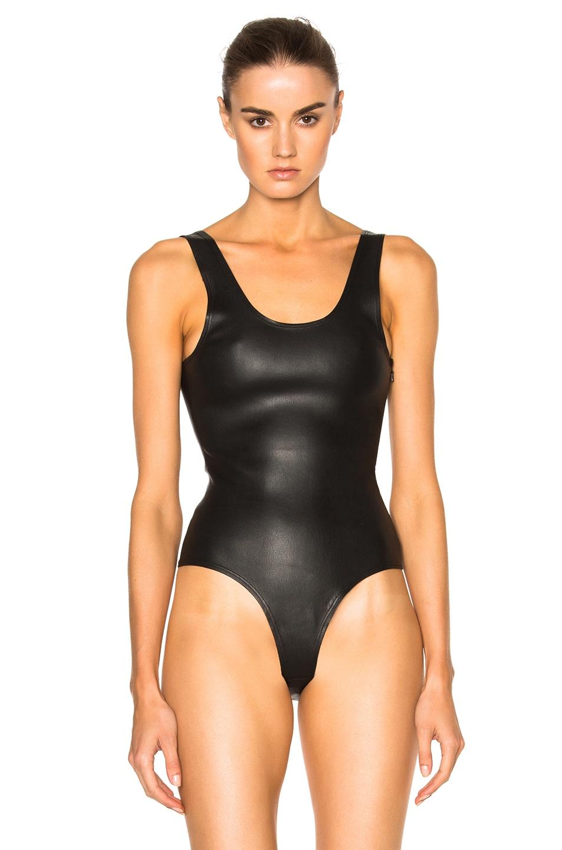 Image 2 of SPRWMN Leather Bodysuit in Black