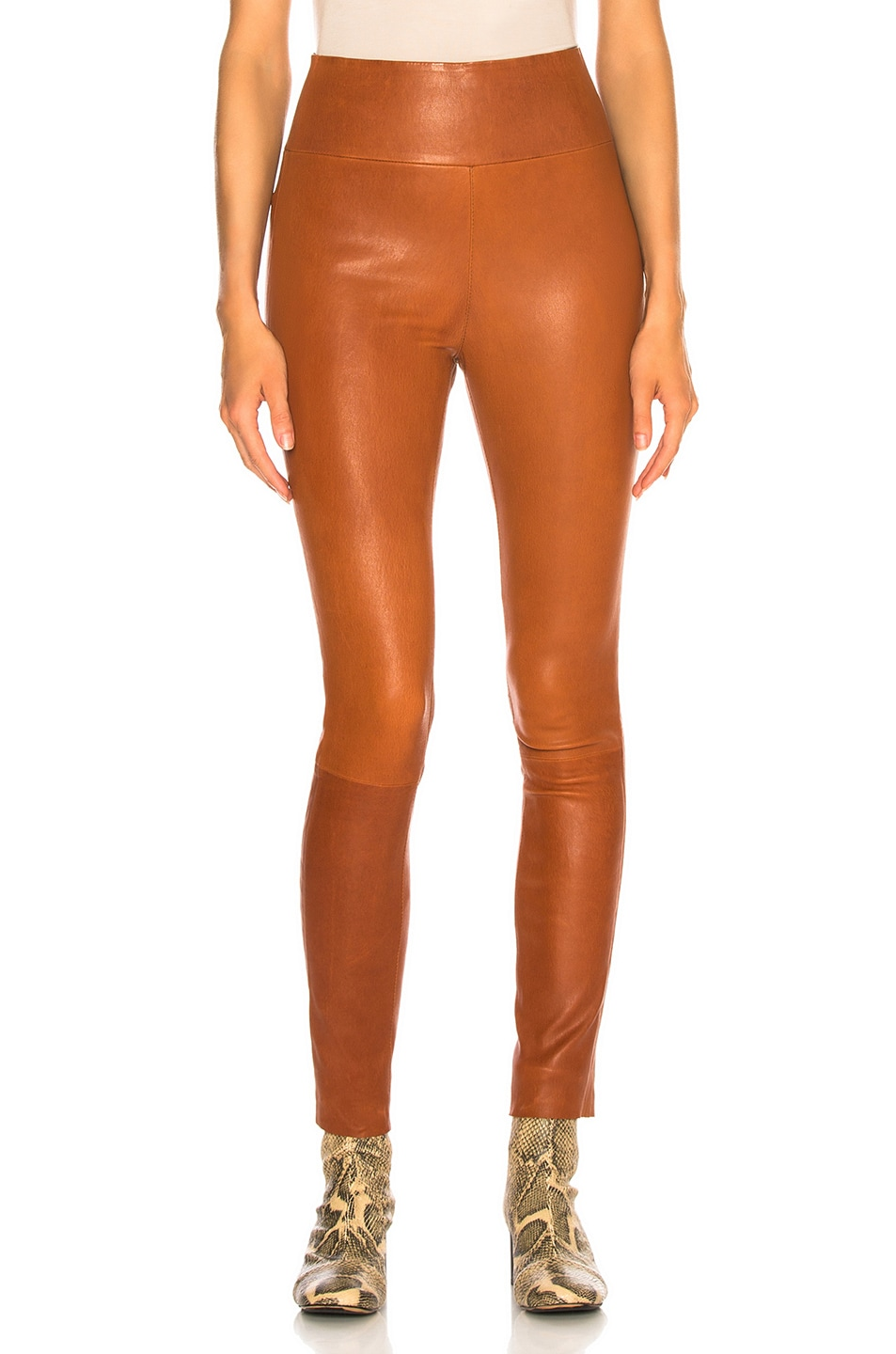 Image 1 of SPRWMN High Waist Ankle Legging in Cognac