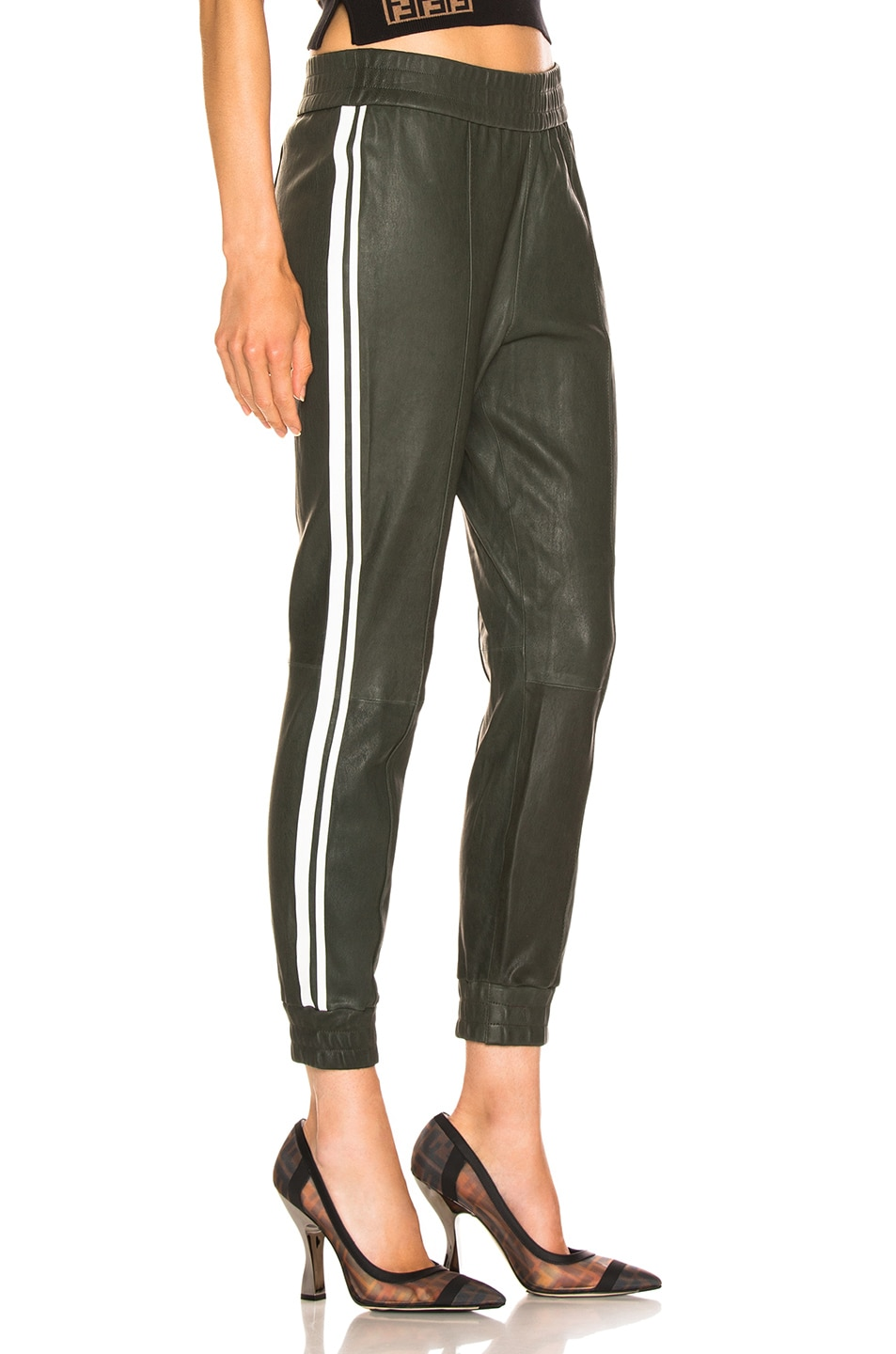 Image 3 of SPRWMN High Waist Two Stripe Jogger in Hunter & White