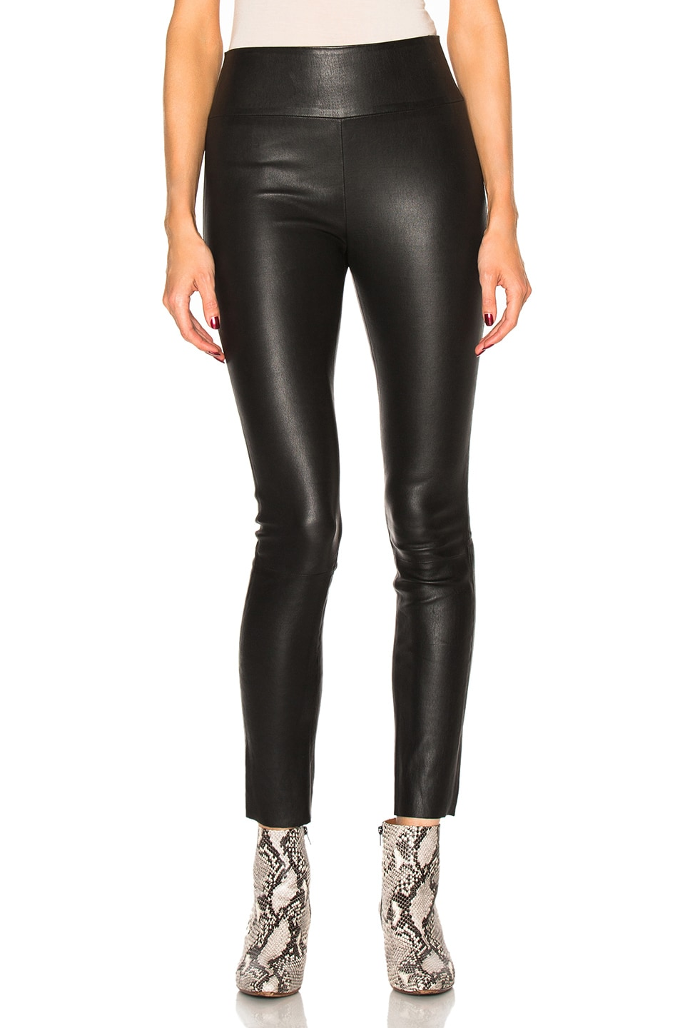 Image 1 of SPRWMN High Waist Leather Ankle Leggings in Black