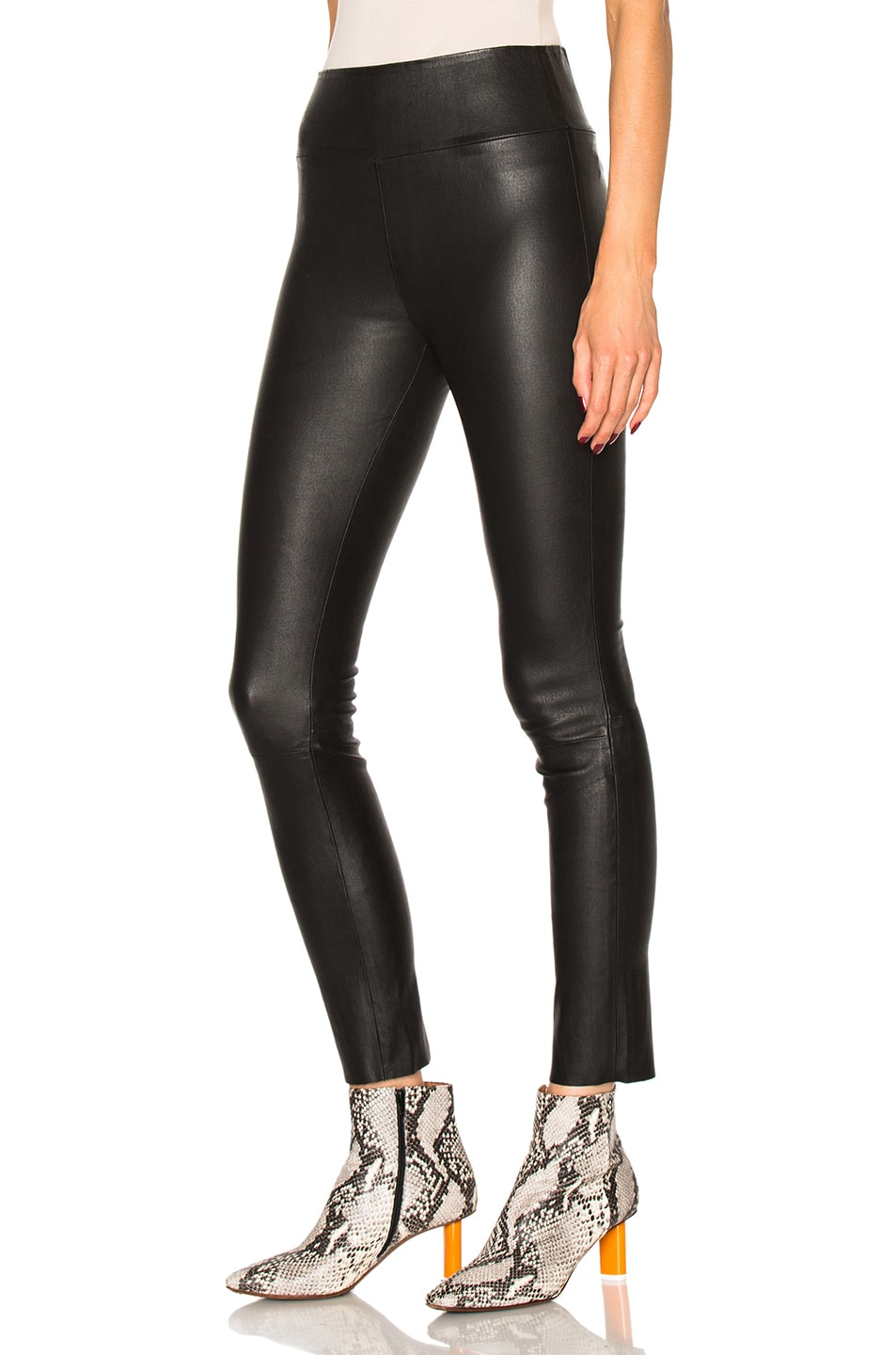 Image 2 of SPRWMN High Waist Leather Ankle Leggings in Black