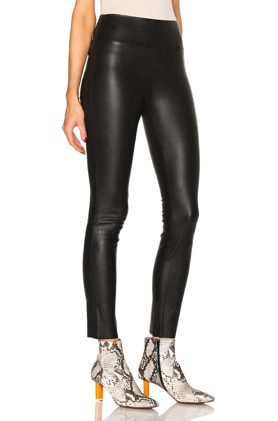 Image 3 of SPRWMN High Waist Leather Ankle Leggings in Black