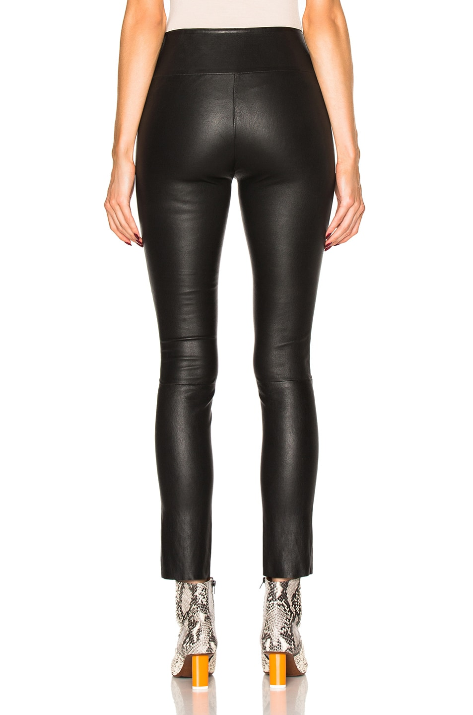 Image 4 of SPRWMN High Waist Leather Ankle Leggings in Black