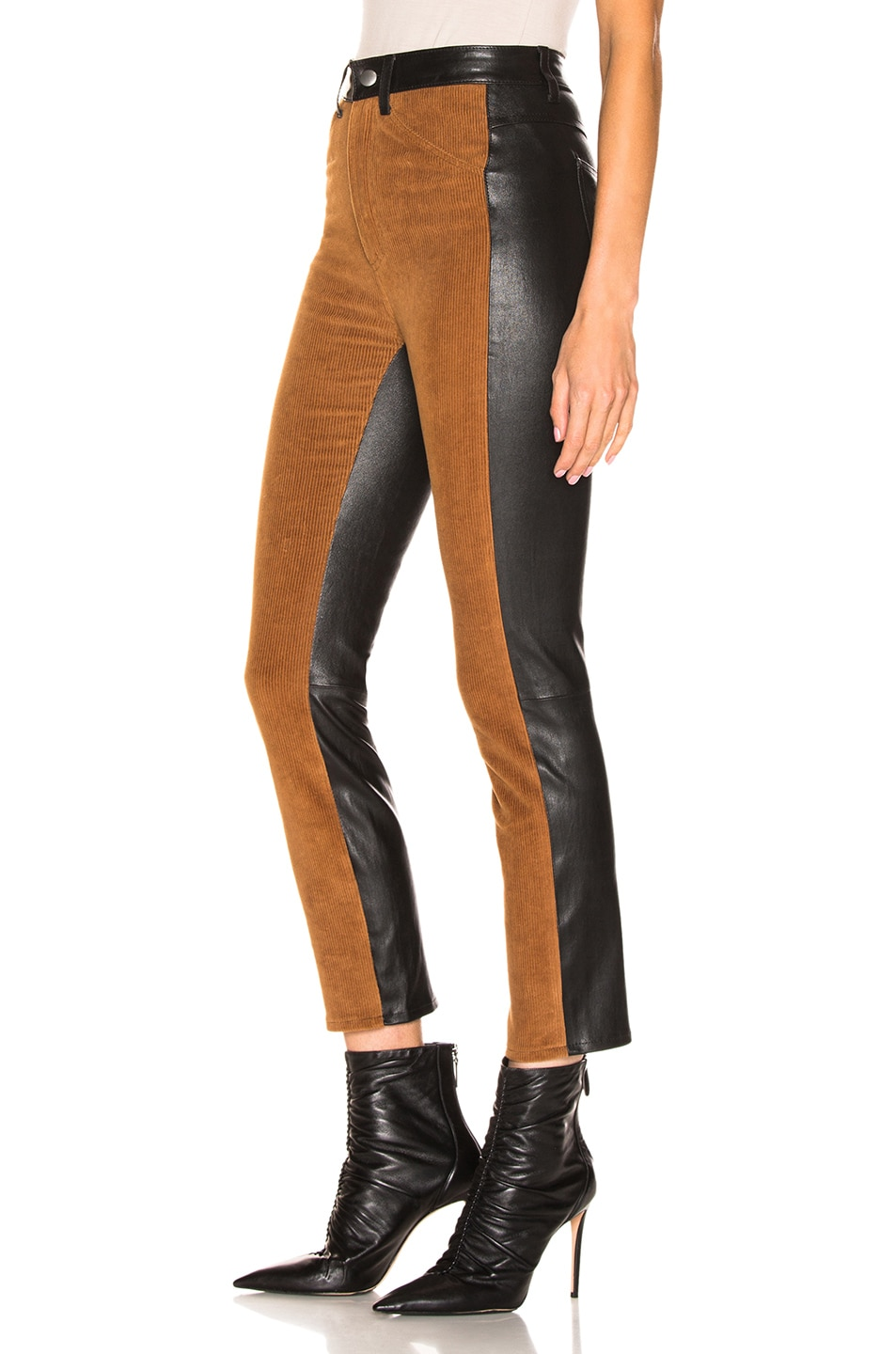 Image 1 of SPRWMN High Waisted Corduroy Pants in Chocolate & Black
