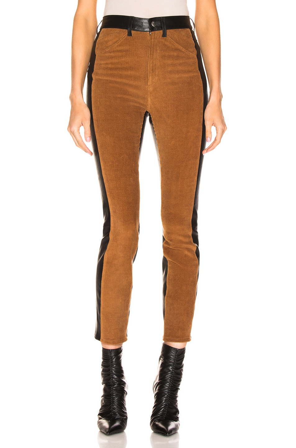 Image 2 of SPRWMN High Waisted Corduroy Pants in Chocolate & Black