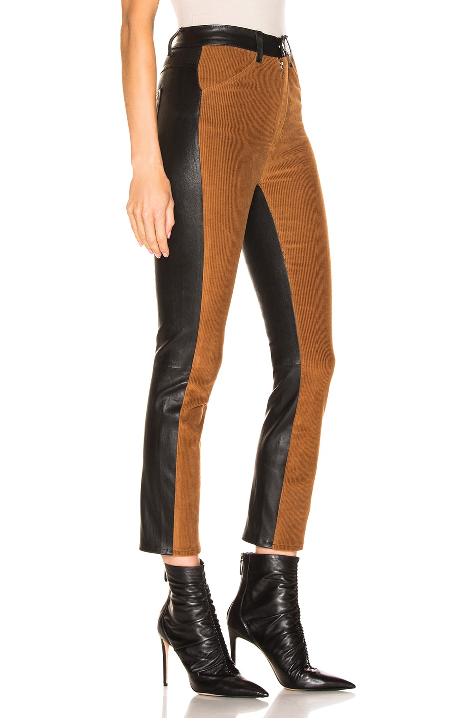 Image 3 of SPRWMN High Waisted Corduroy Pants in Chocolate & Black