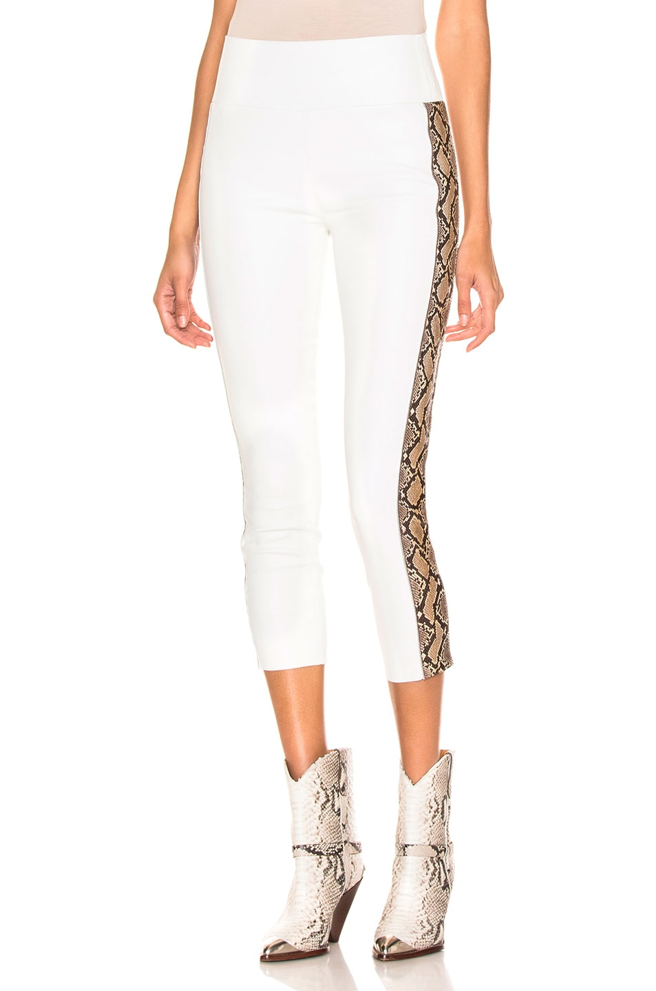 Image 1 of SPRWMN Snake Stripe Capri Legging in White & Tan Snake Print