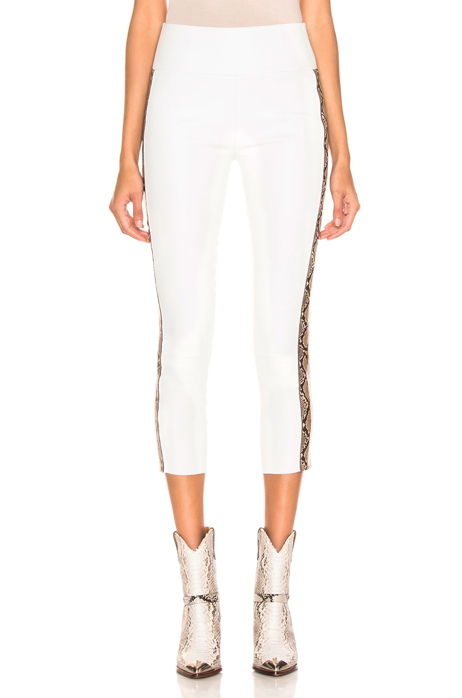 Image 2 of SPRWMN Snake Stripe Capri Legging in White & Tan Snake Print