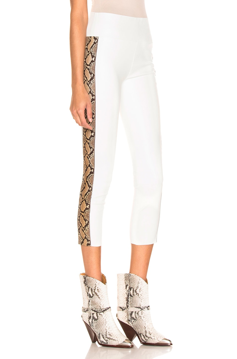 Image 3 of SPRWMN Snake Stripe Capri Legging in White & Tan Snake Print