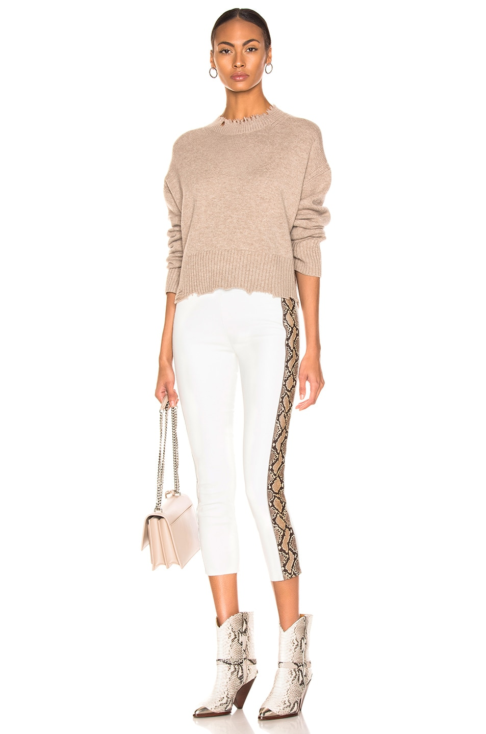 Image 5 of SPRWMN Snake Stripe Capri Legging in White & Tan Snake Print