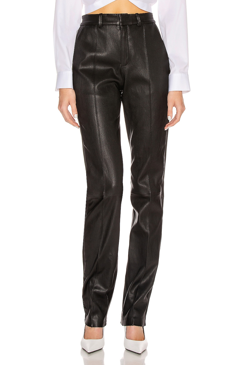 Image 1 of SPRWMN Tailored Pant with Tux Stripe in Black