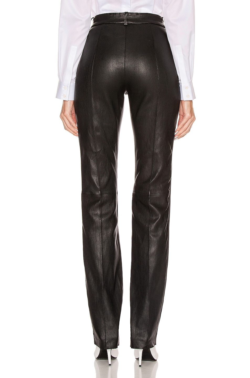 Image 3 of SPRWMN Tailored Pant with Tux Stripe in Black