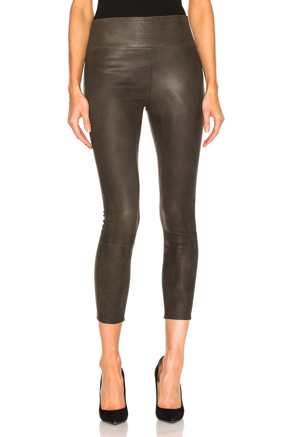 2f70e3bfd5b4eb Image 1 of SPRWMN High Waist 3/4 Leather Legging in Army