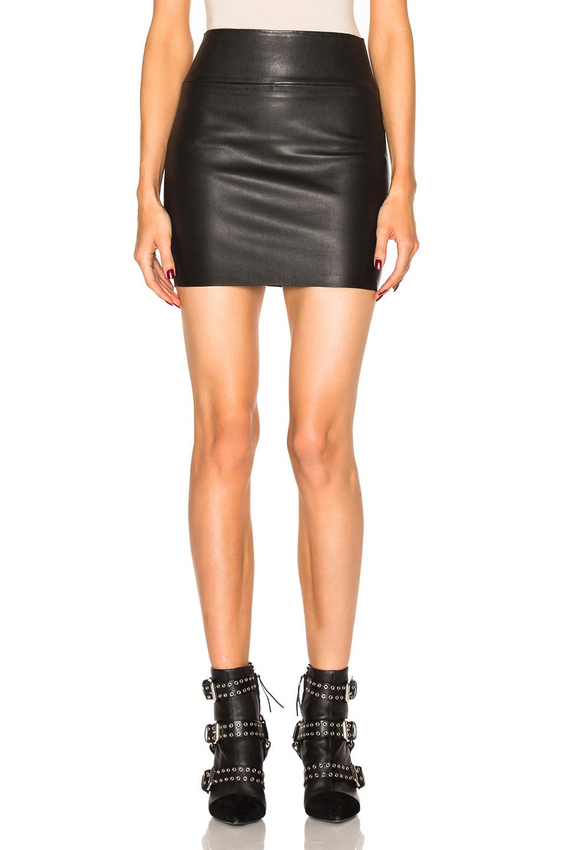 Image 1 of SPRWMN Leather Mini Skirt in Black