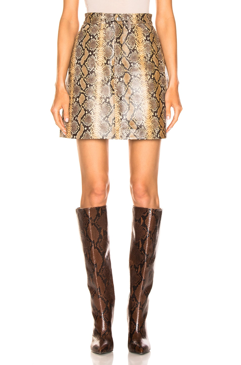 Image 1 of SPRWMN A-line Skirt in Tan Snake Print