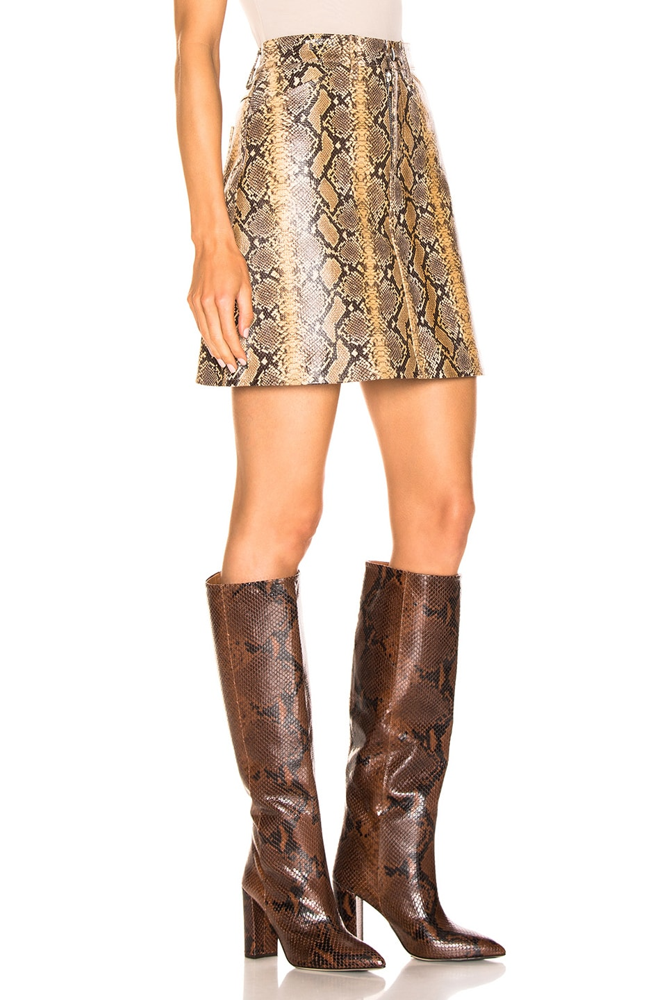 Image 2 of SPRWMN A-line Skirt in Tan Snake Print