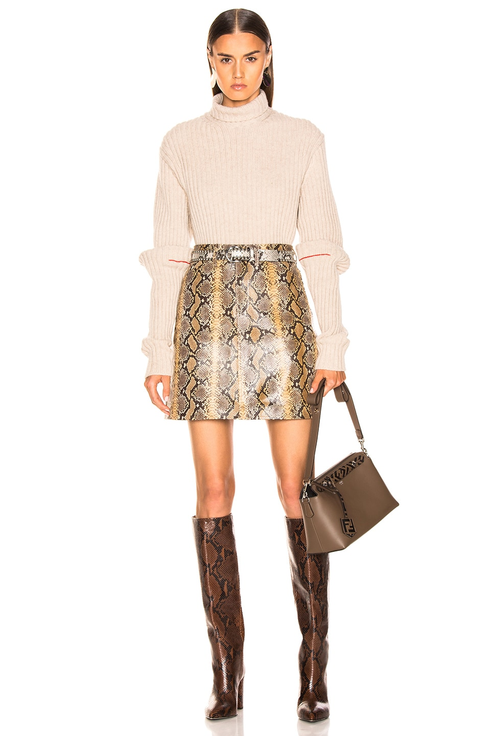 Image 4 of SPRWMN A-line Skirt in Tan Snake Print