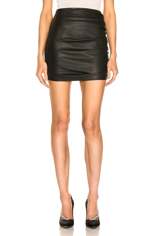 Image 1 of SPRWMN Shirred Mini Skirt in Black