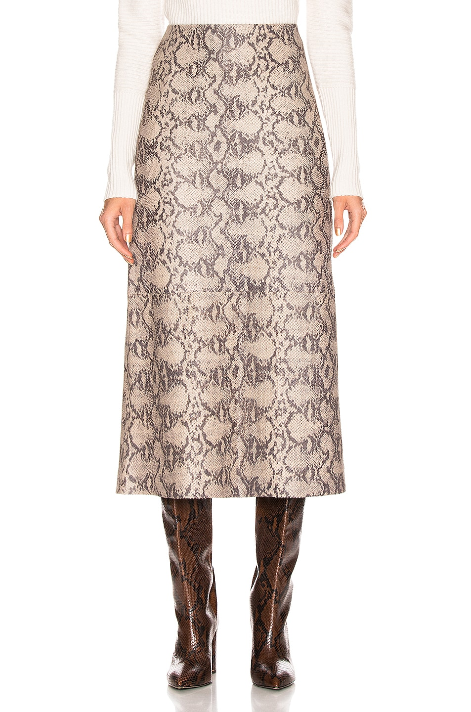 Image 1 of SPRWMN Midi Skirt in Tan Snake