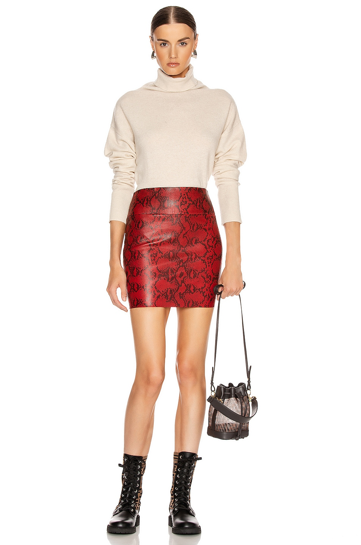 Image 4 of SPRWMN Mini Skirt in Blood Red Snake