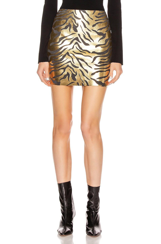 Image 1 of SPRWMN Mini Skirt in Metallic Zebra