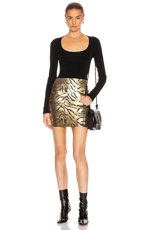 Image 4 of SPRWMN Mini Skirt in Metallic Zebra