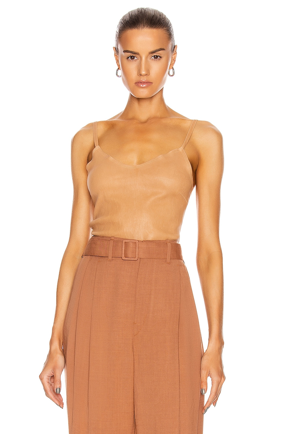 Image 1 of SPRWMN Stretch Leather Cami in Caramel