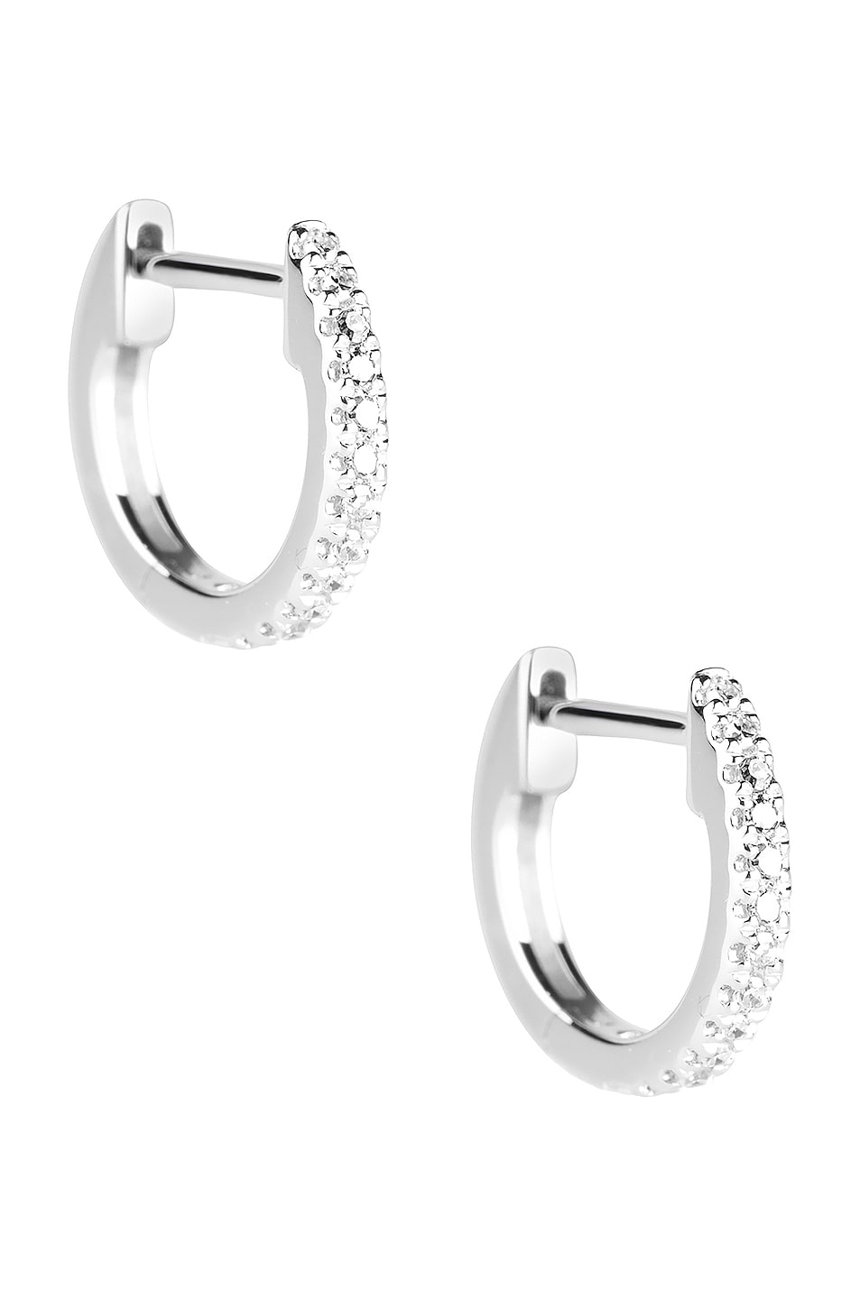 Image 1 of STONE AND STRAND Diamond Pave Huggie Earrings in White Gold & Diamond
