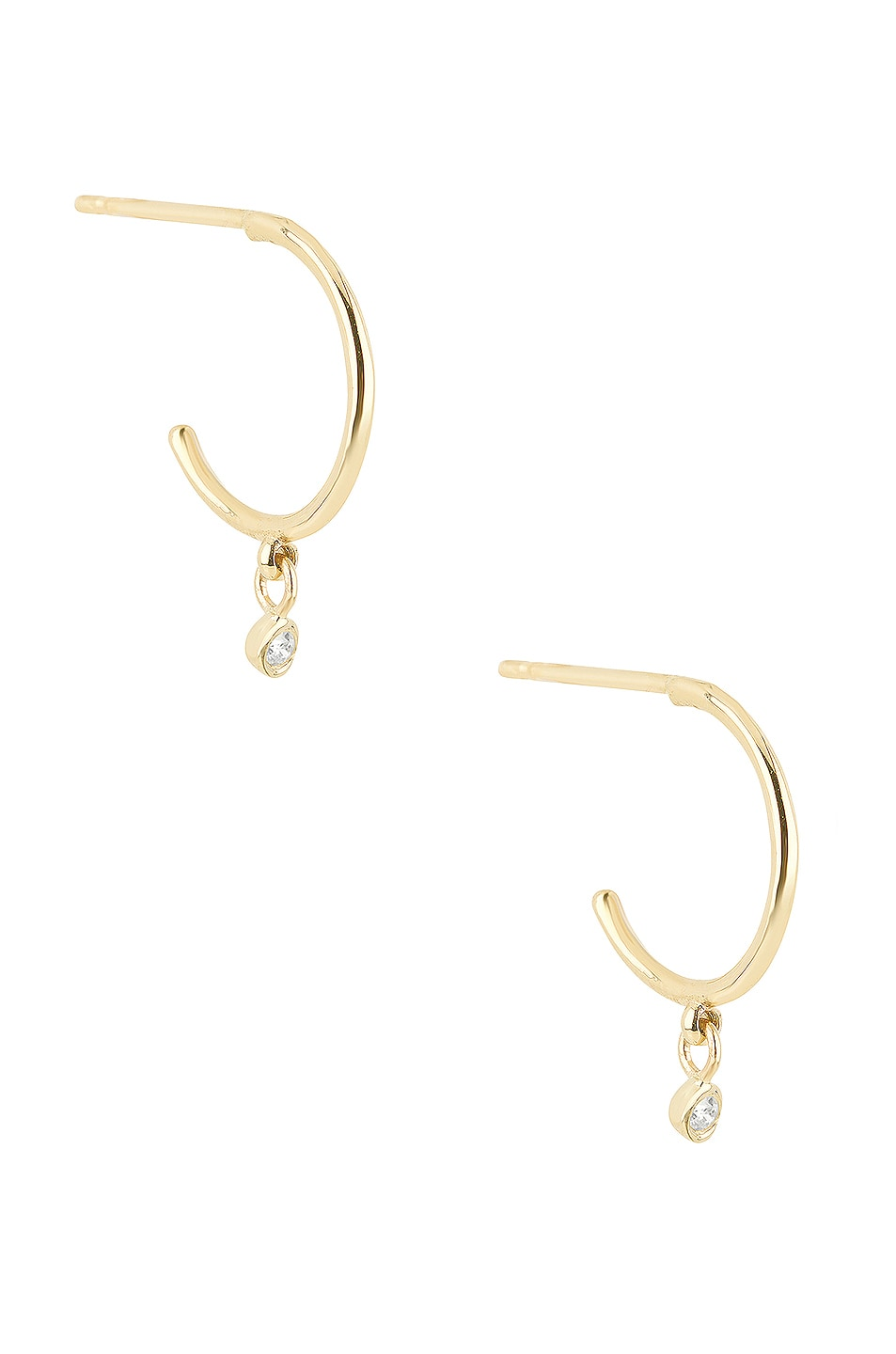 Image 1 of STONE AND STRAND Teeny Hanging Diamond Huggie Earrings in Gold & Diamond