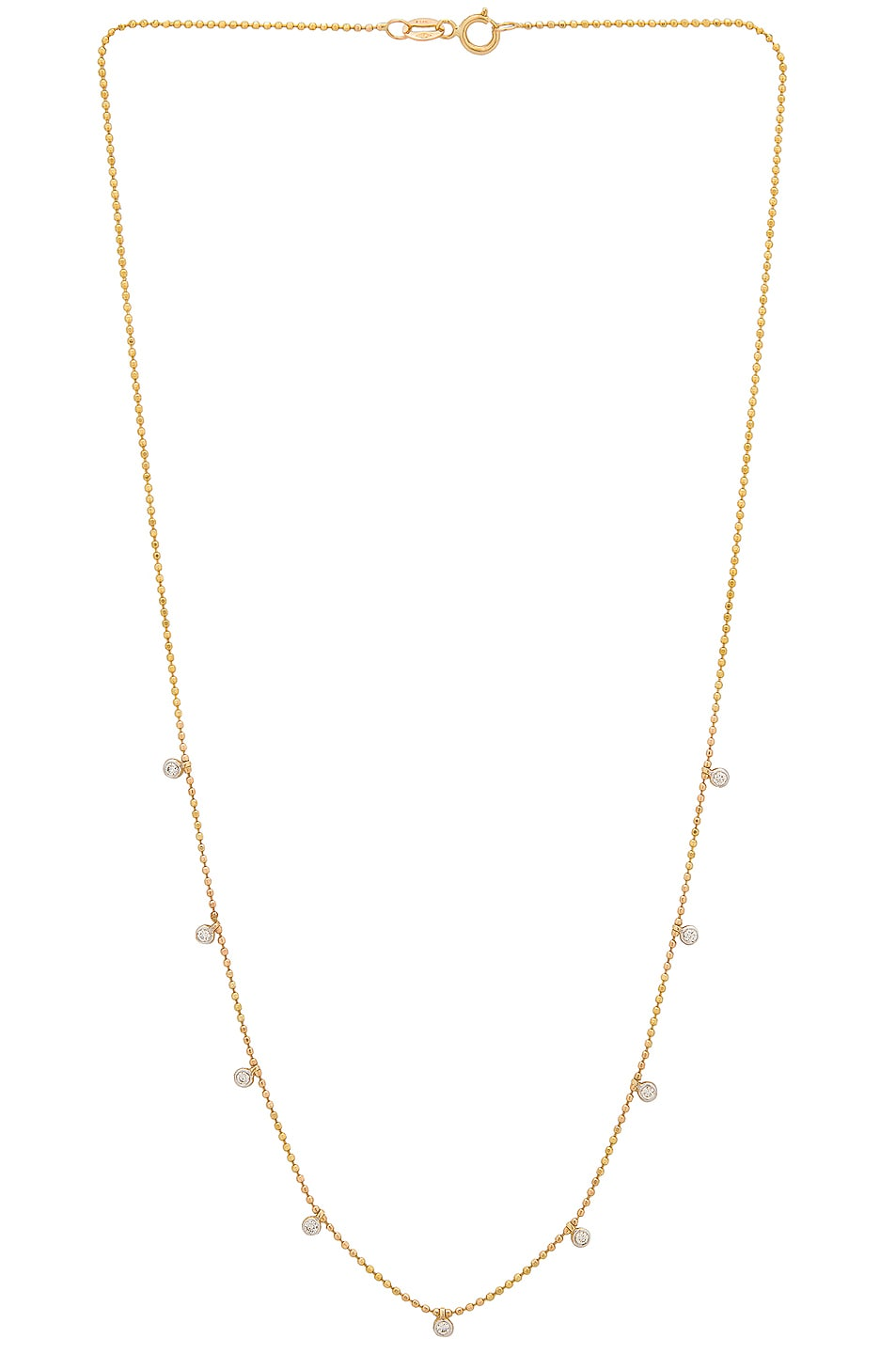 Image 1 of STONE AND STRAND Teeny Dangling Diamond Bead Chain Necklace in Gold & Diamond