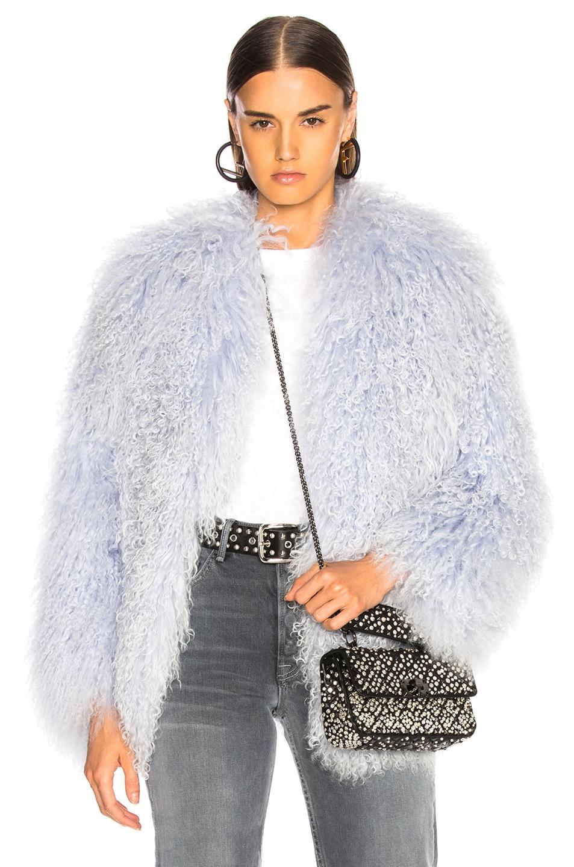 Image 1 of Sprung Alma Fur Coat in Lavender