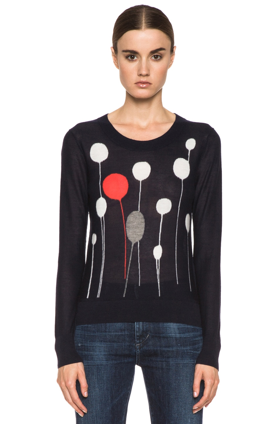 Image 1 of SONIA RYKIEL Graphic Intarsia Cashmere Sweater in Navy