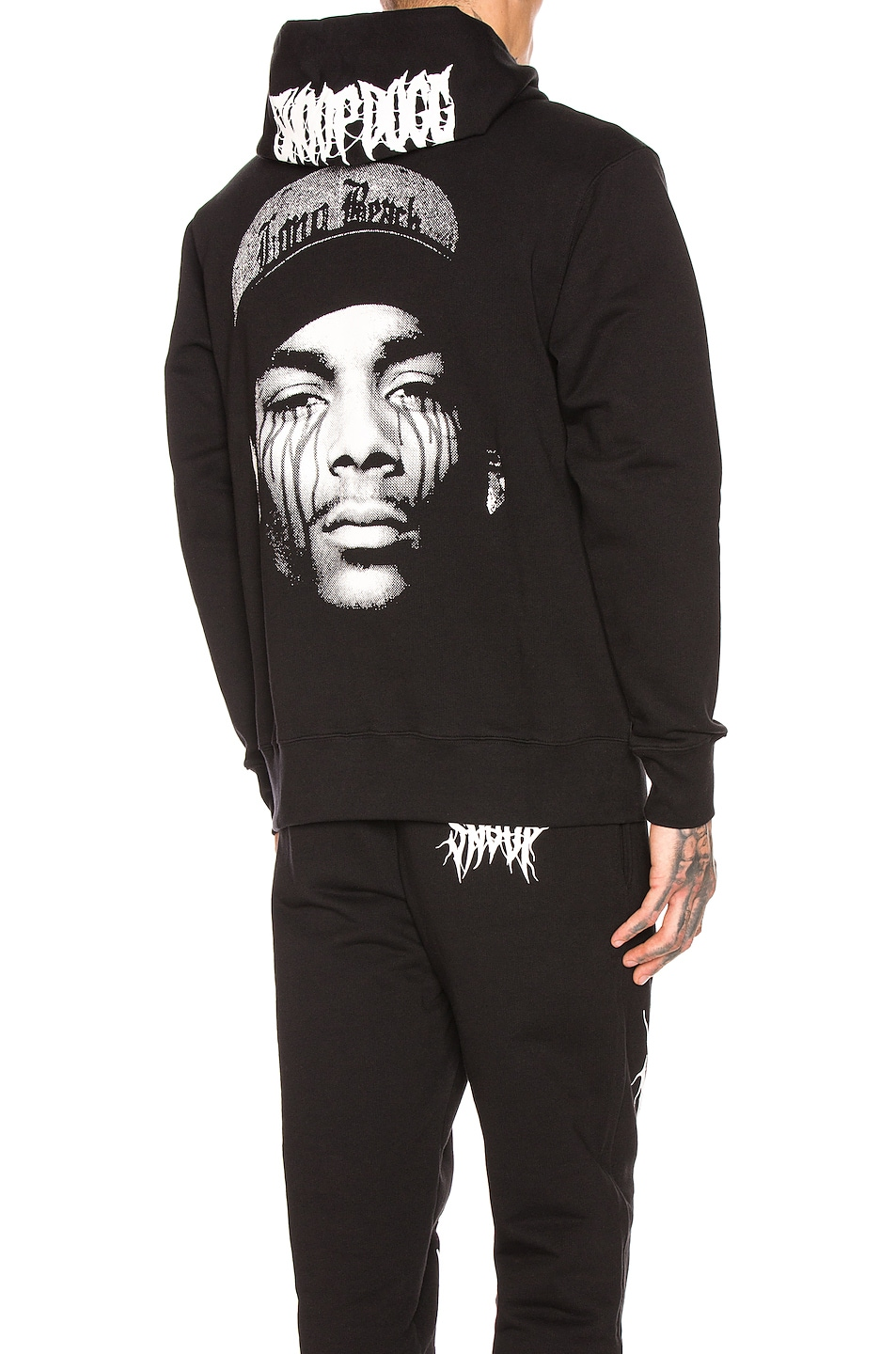 Sss World Corp Tops SSS WORLD CORP SSSNOOP TEARS HOODIE IN BLACK & WHITE