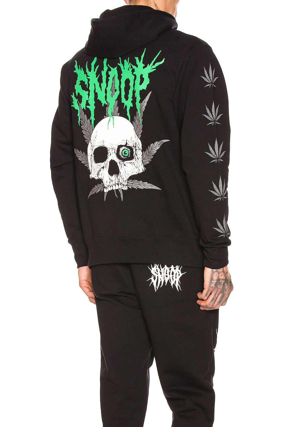Image 1 of SSS World Corp SSSNOOP Weed Skull Hoodie in Black & Green