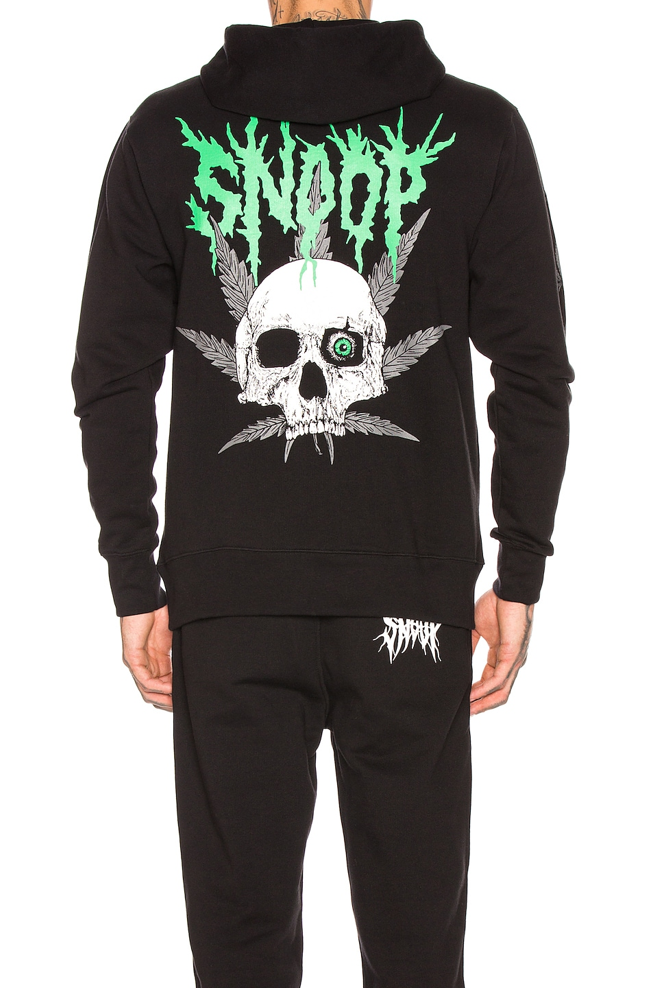 Image 5 of SSS World Corp SSSNOOP Weed Skull Hoodie in Black & Green