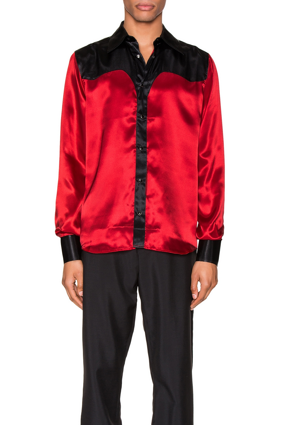 Image 1 of SSS World Corp Western Shirt in Black & Red