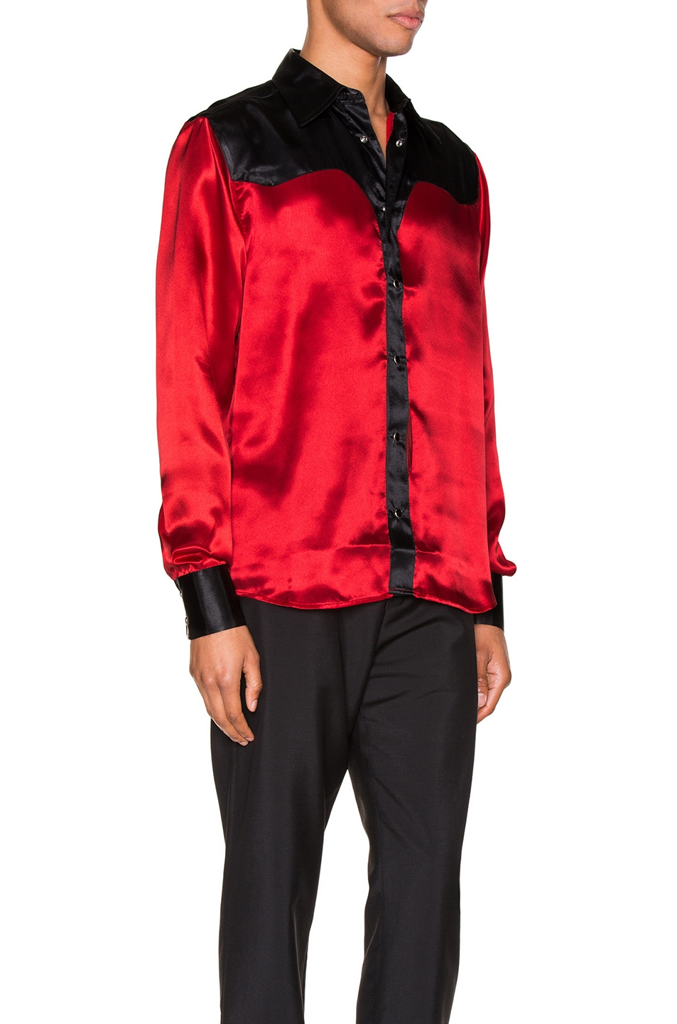 Image 2 of SSS World Corp Western Shirt in Black & Red