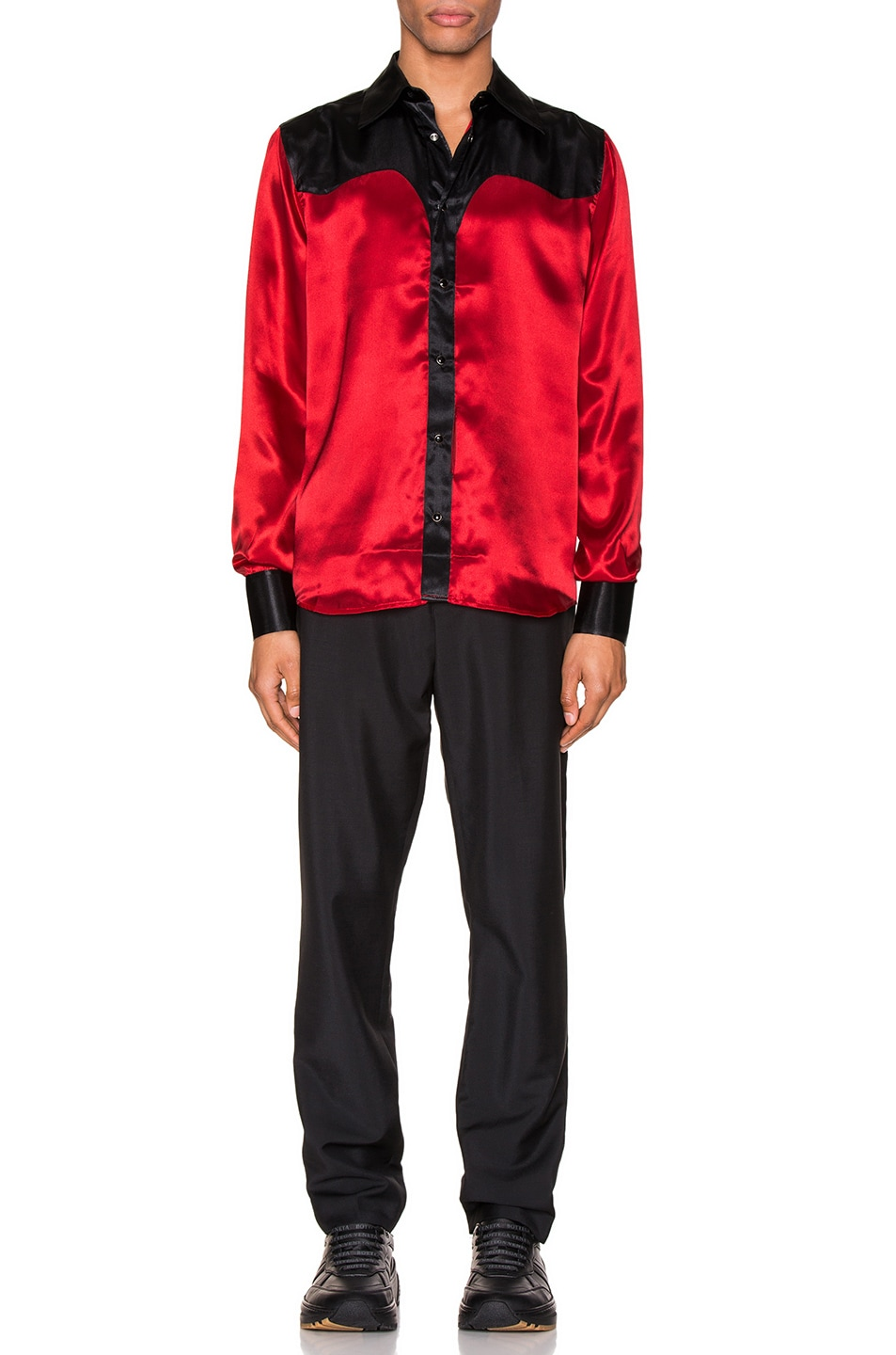 Image 4 of SSS World Corp Western Shirt in Black & Red
