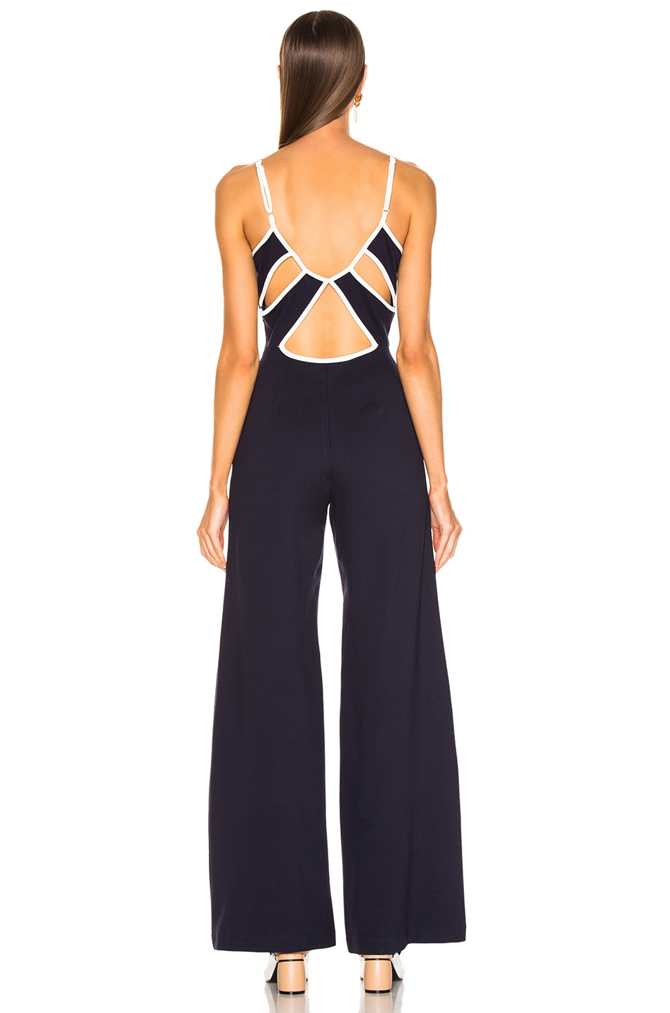 Image 3 of Staud Twilo Jumpsuit in Navy & Opal