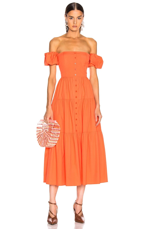 Image 1 of Staud Elio Dress in Tangerine in Tangerine