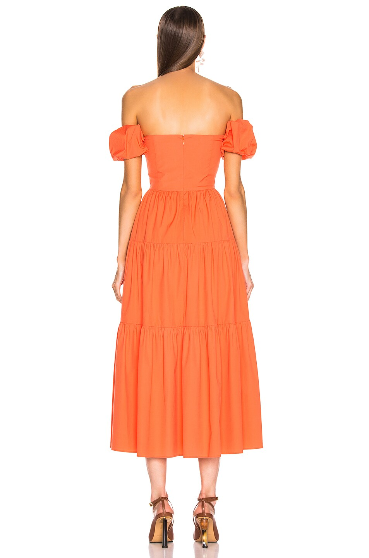Image 3 of Staud Elio Dress in Tangerine in Tangerine