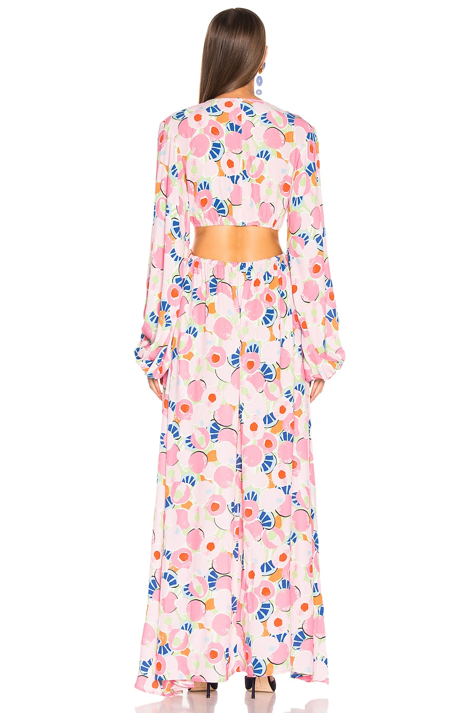 Image 3 of Staud Georgia Dress in Abstract Peach Blossom
