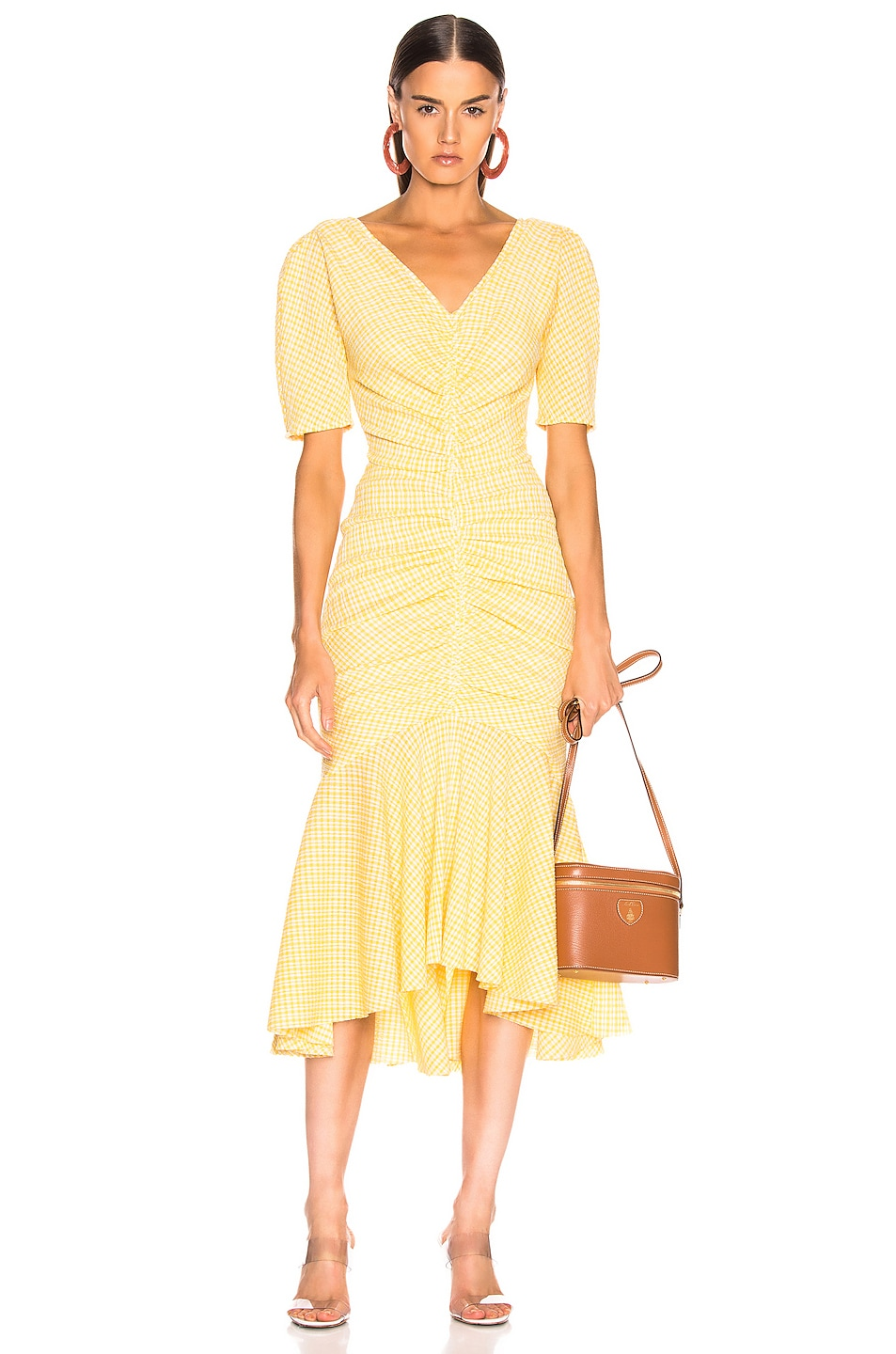 Image 1 of Staud Panier Dress in Yellow Gingham