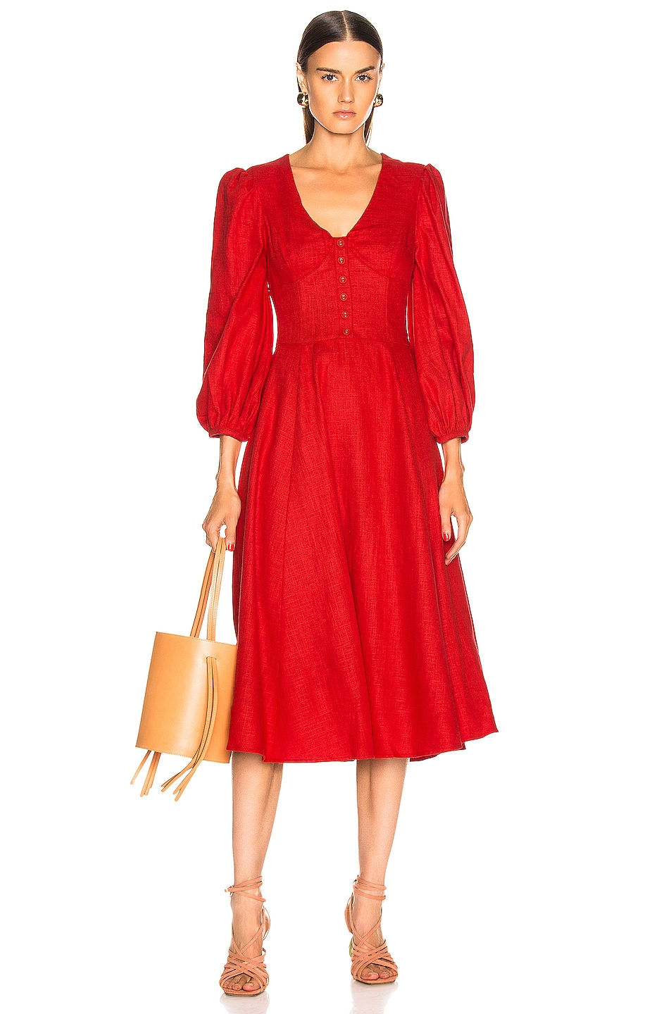 Image 1 of Staud Birdie Dress in Tomato