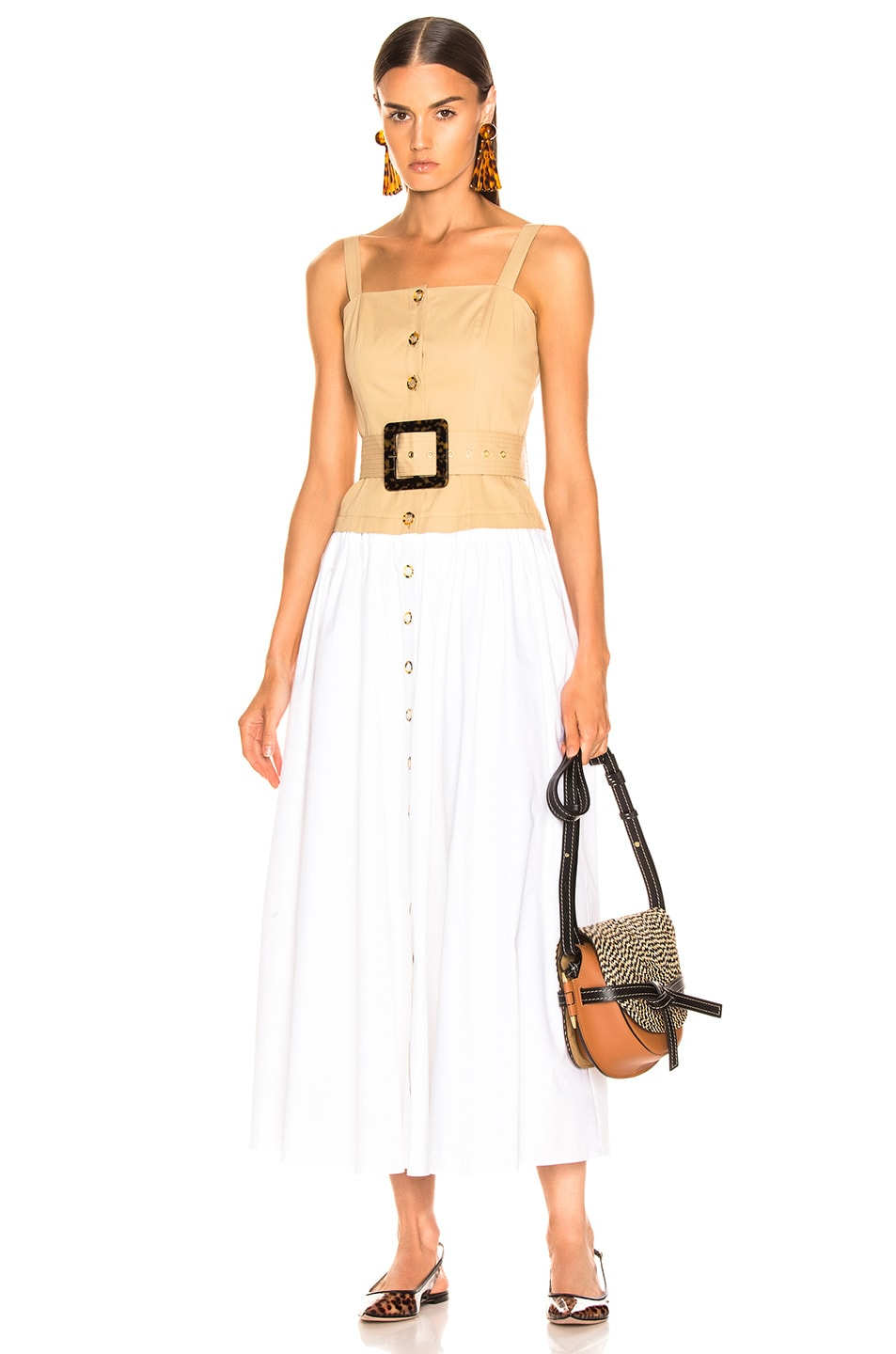 Image 1 of Staud Marina Dress in Sand & White