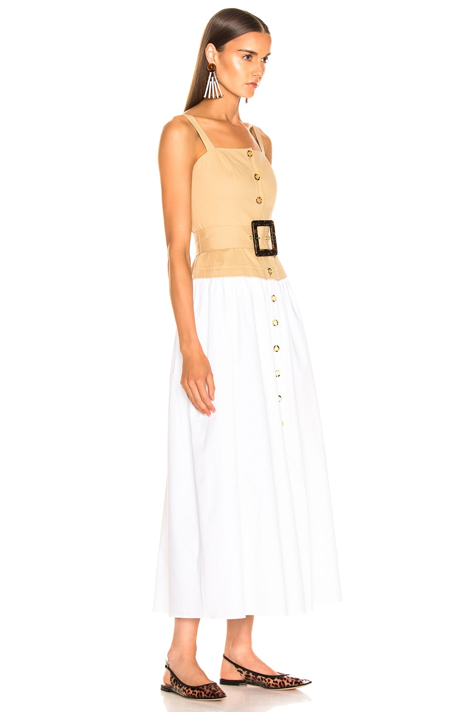 Image 2 of Staud Marina Dress in Sand & White