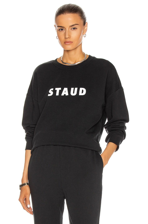 Image 1 of Staud Crew Neck Logo Sweatshirt in Black