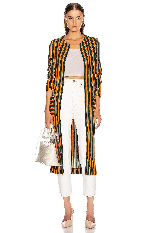 Image 1 of Staud Mia Robe in Pistachio & Cantaloupe Stripe