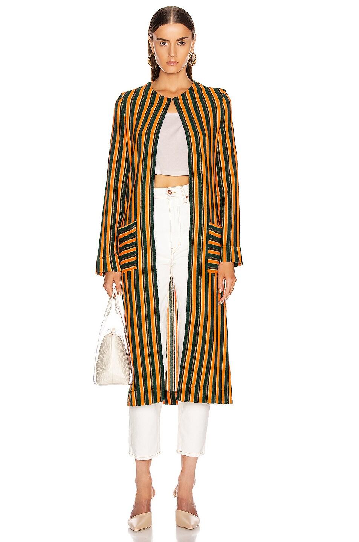 Image 2 of Staud Mia Robe in Pistachio & Cantaloupe Stripe